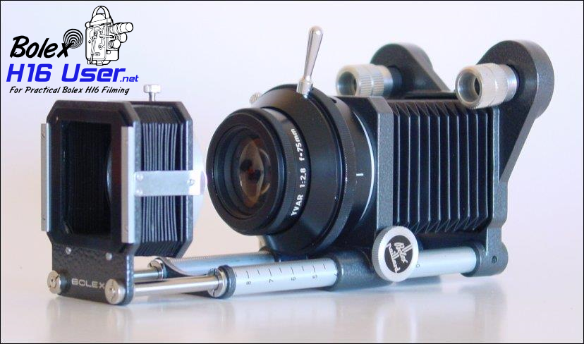 Side View of Bellows Attachment for Macro Filming