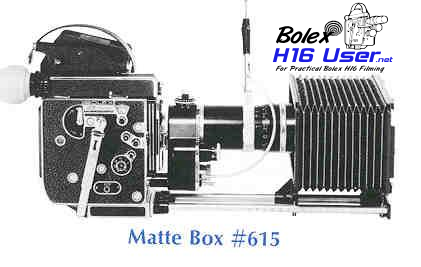 Matte box with long rails attached to camera