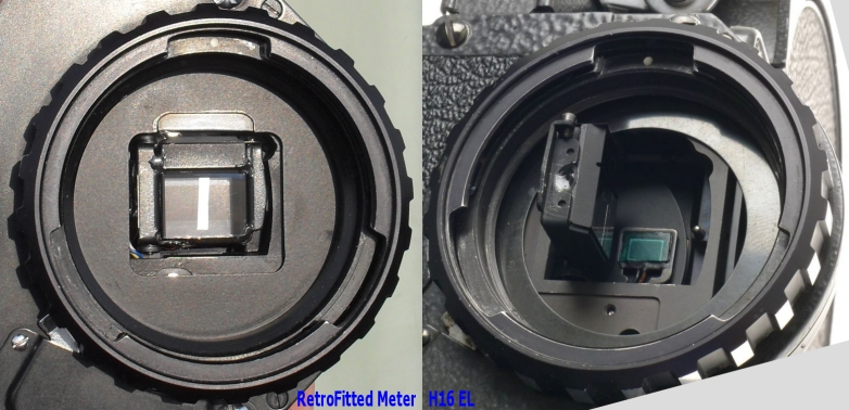 Difference between Bolex H16 EL and Retrofitted Metering shutter components