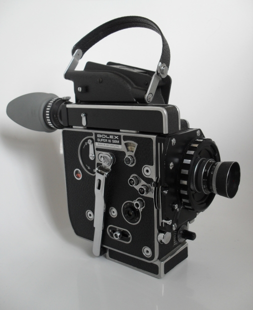 View of H16 SBM camera body with 25mm Switar + Lens Shade